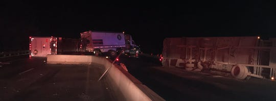 Trailers on their side following a truck crash on I-84 early Tuesday, Feb. 12.