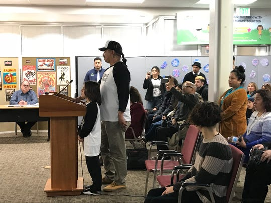 Israel Villa speaks against having school resource officers at Salinas City Elementary School District during the district's board meeting Monday.