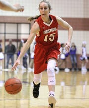 Christoval's Kayce Jackson dribbles against Roscoe in a Class 2A bidistrict girls basketball playoff Monday, Feb. 11, 2019, at Bronte.