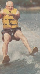 Frank Deloria water skiing at 70 years old.