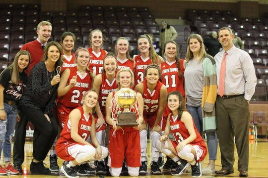 The Christoval girls basketball team celebrates beating Roscoe in a Class 2A bidistrict playoff Monday, Feb. 11, 2019, at Bronte.