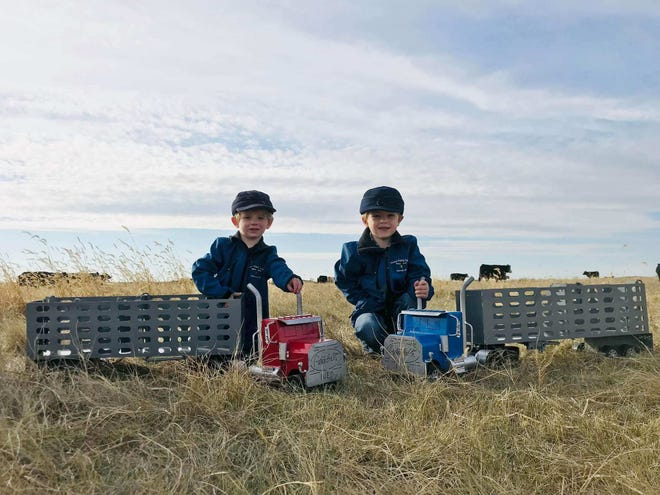 Two boys show off their new cattle trailer and semi truck toys from The Happy Toy Maker.