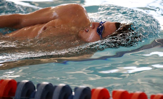 San Angelo Central's Riley Hill goes through practice at the Gus Clemens Aquatic Center on Tuesday, Feb. 12, 2019. Hill is entered in three events in the UIL state meet this weekend in Austin.