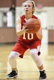 Christoval's Allison Vaughn sets up for a free throw against Roscoe in a Class 2A bidistrict girls basketball playoff Monday, Feb. 11, 2019, at Bronte.