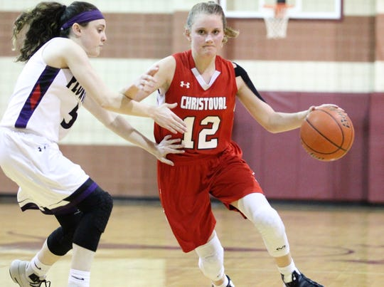 Christoval's Graci Jones dribbles against Roscoe's Riley Sheridan in a Class 2A bidistrict girls basketball playoff Monday, Feb. 11, 2019, at Bronte.