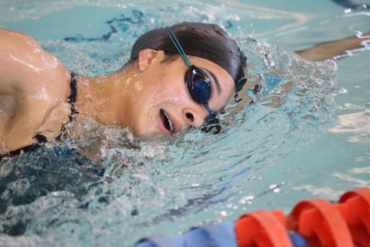 San Angelo Central's Sophie Forbes goes through practice at the Gus Clemens Aquatic Center on Tuesday, Feb. 12, 2019.