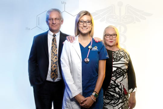 Dr. Paul Swets (left) and Dr. Leslie Mayrand (right) lead ASU's STEM programs to benefit students like nursing major Shae Hopf of Pipe Creek.