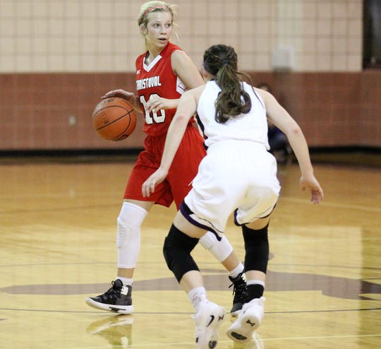Christoval's Allison Vaughn dribbles against Roscoe in a Class 2A bidistrict girls basketball playoff Monday, Feb. 11, 2019, at Bronte.