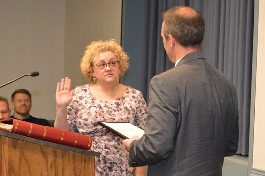 City Councilwoman Angela Blake is sworn in to office.