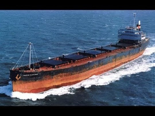 The Marine Electric, a 605-foot cargo ship, as seen underway before its capsizing and sinking on Feb. 12, 1983. The converted WWII-era ship foundered 30 miles off the coast of Virginia's Eastern Shore and capsized, throwing most of its 34 crew into 37-degree water, where 31 of them drowned or succumbed to hypothermia.