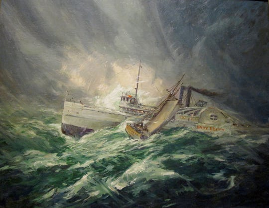 A painting of the Augusta colliding with the Lady Elgin by the artist Gary Sheahan, presented to the Winnetka Historical Society in 1950.