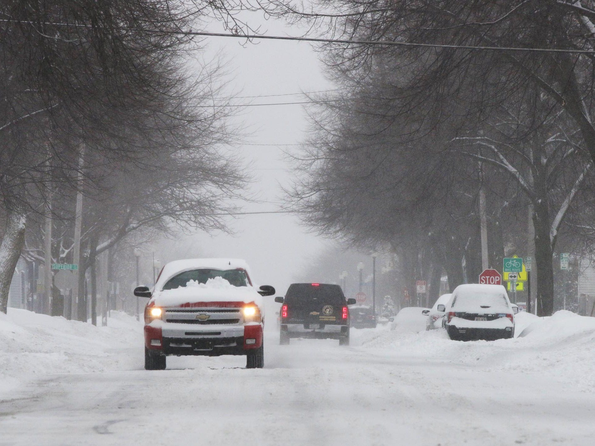 A winter wonderland greeted motorists on North 8th Street, Tuesday, February 12, 2019, in Sheboygan, Wis.