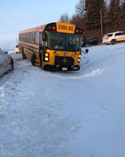 The Minnehaha County Sheriff's Office said no one was hurt after a school bus crash on Tuesday, Jan. 12, 2019.