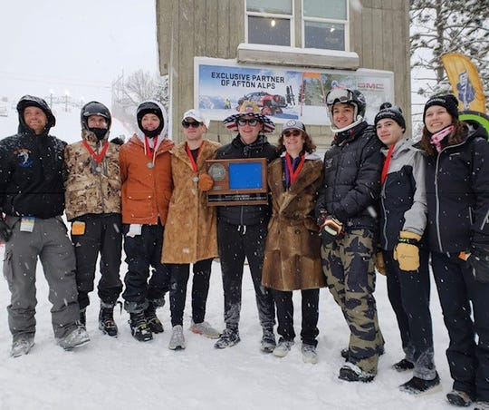 The St. Cloud Breakaways alpine ski team poses after earning a state berth in the Section 5 championship at Afton Alps in Hastings.