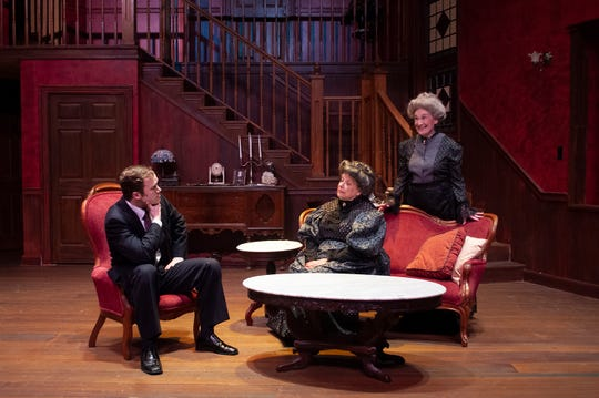 """Mortimer (David Sloan) learns about his aunts' (Debbie Frost, Beth Blair) latest disturbing hobby in Theatre Tallahassee's """"Arsenic and Old Lace."""""""