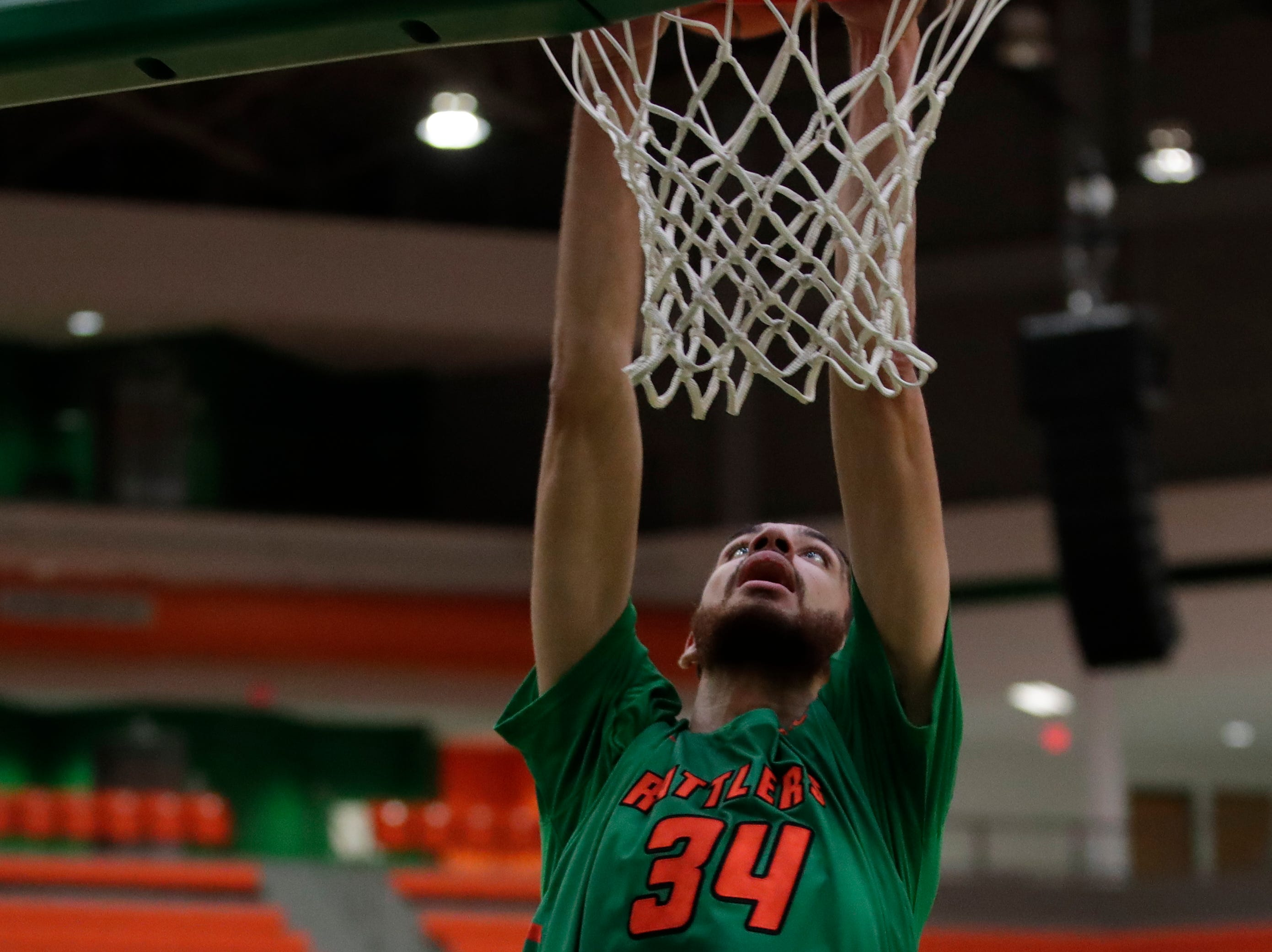 Florida A&M Rattlers center Isaiah Martin (34) dunks during a game between FAMU and Norfolk State at the Alfred Lawson Jr. Multipurpose Center Monday, Feb. 11, 2019.
