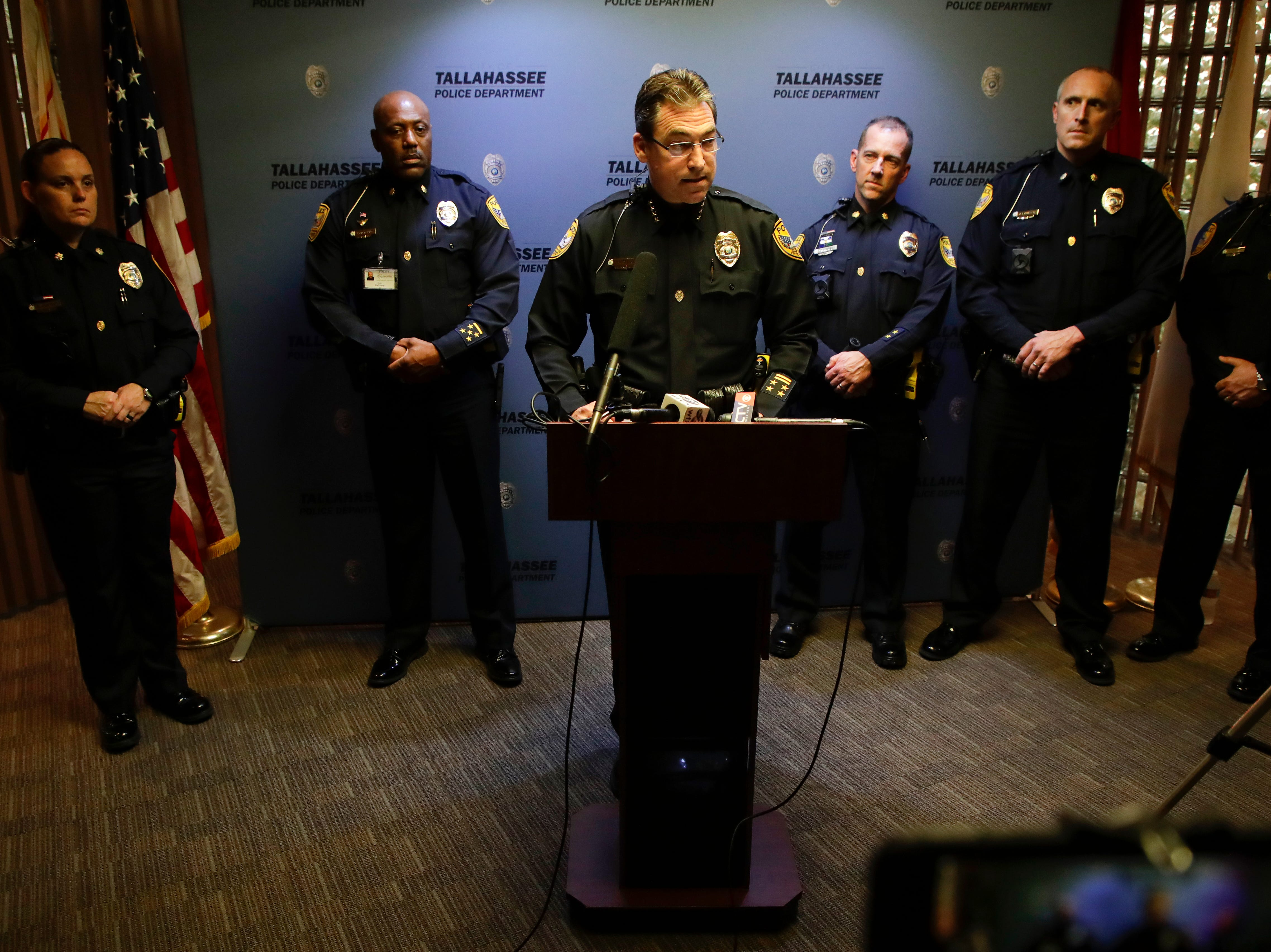Tallahassee Police Chief Michael DeLeo holds a press conference as the department releases their final report on the Friday, Nov. 2, 2018 Tallahassee Hot Yoga shooting at the Tallahassee Police Department Tuesday, Feb. 12, 2019.