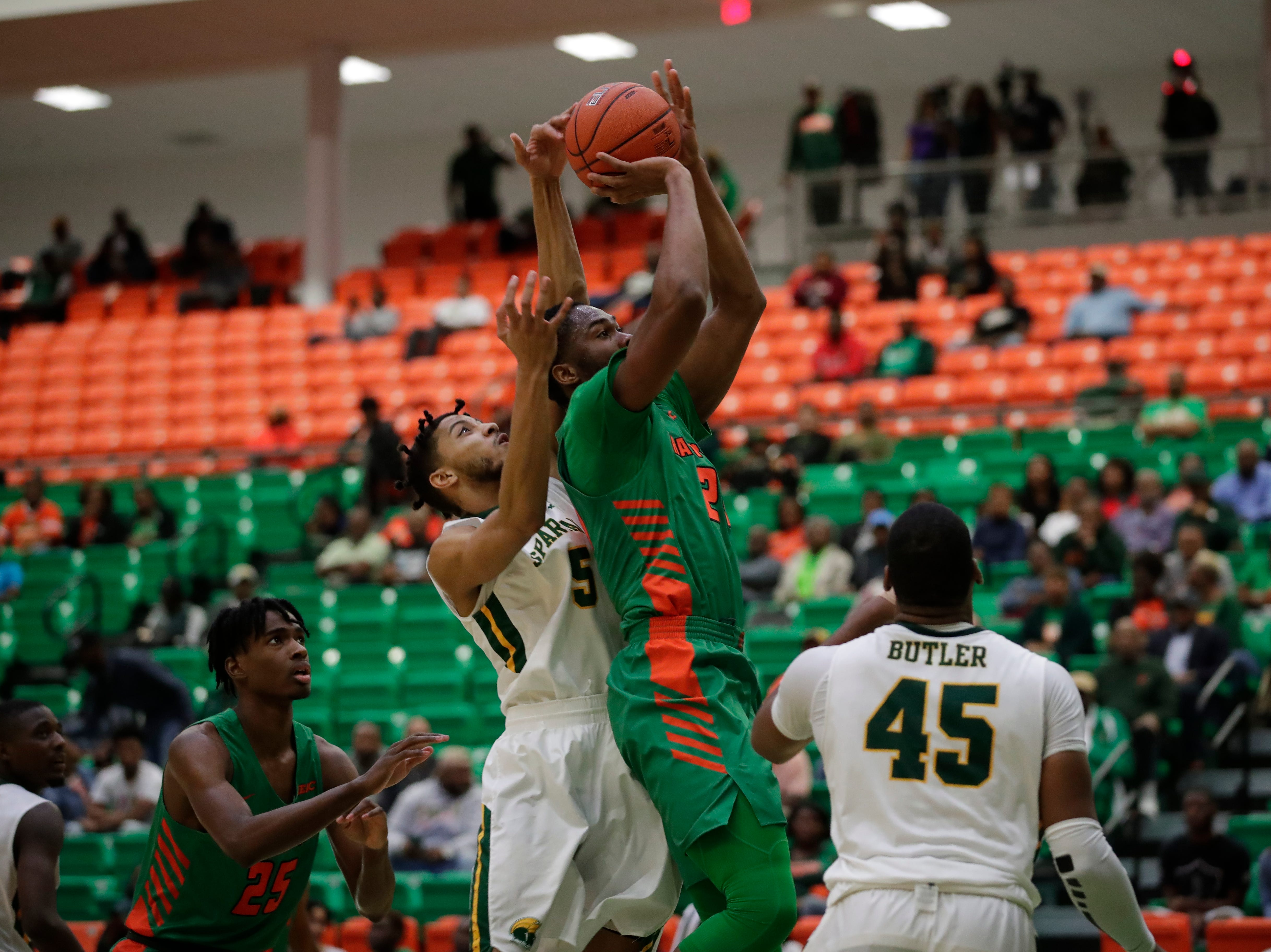 Florida A&M Rattlers forward Ifeanyi Umezurike (24) puts up a shot during a game between FAMU and Norfolk State at the Alfred Lawson Jr. Multipurpose Center Monday, Feb. 11, 2019.