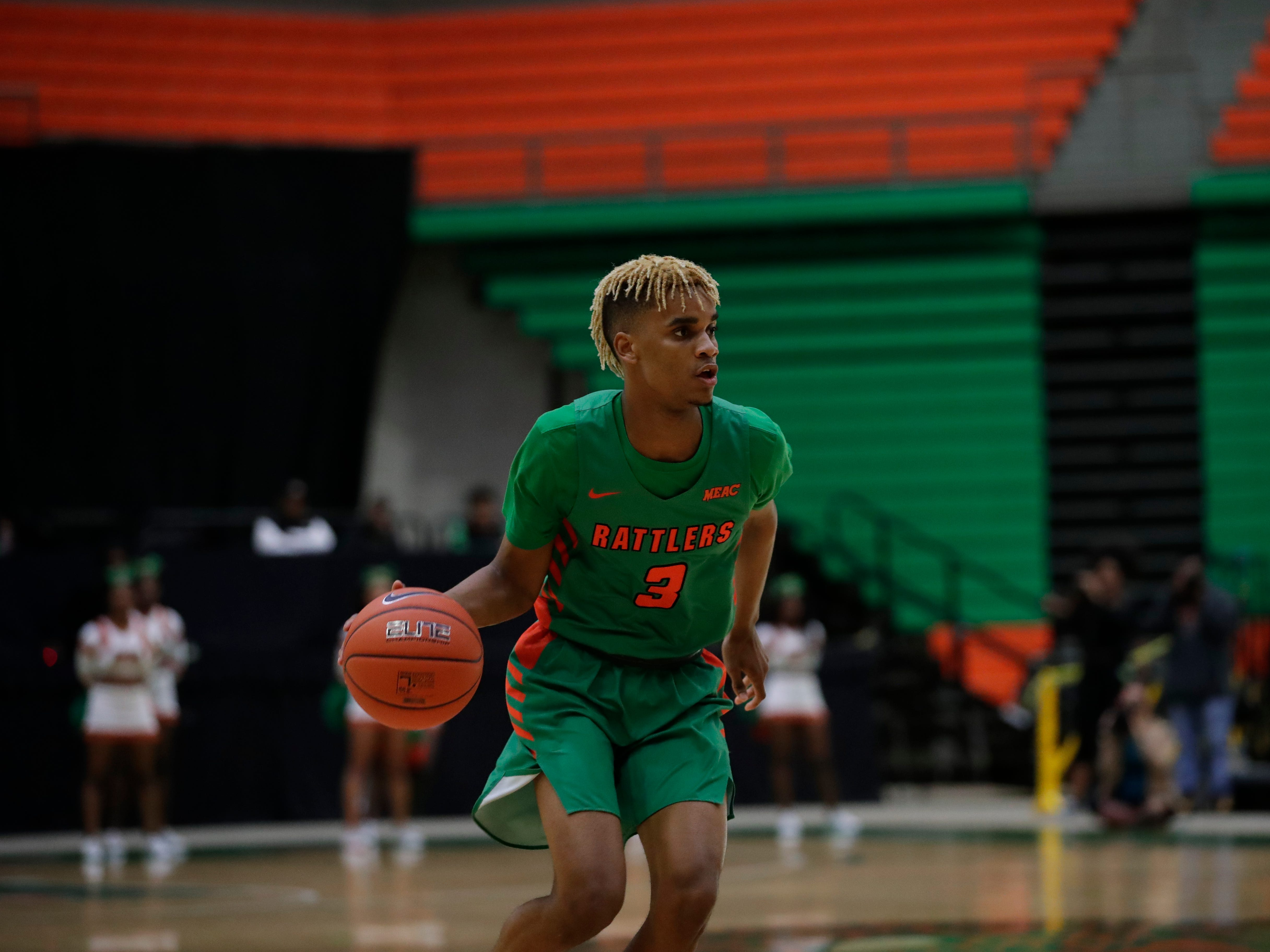 Florida A&M guard M.J. Randolph had 9 points in a 66-54 loss to Norfolk State at the Alfred Lawson Jr. Multipurpose Center Monday, Feb. 11, 2019.