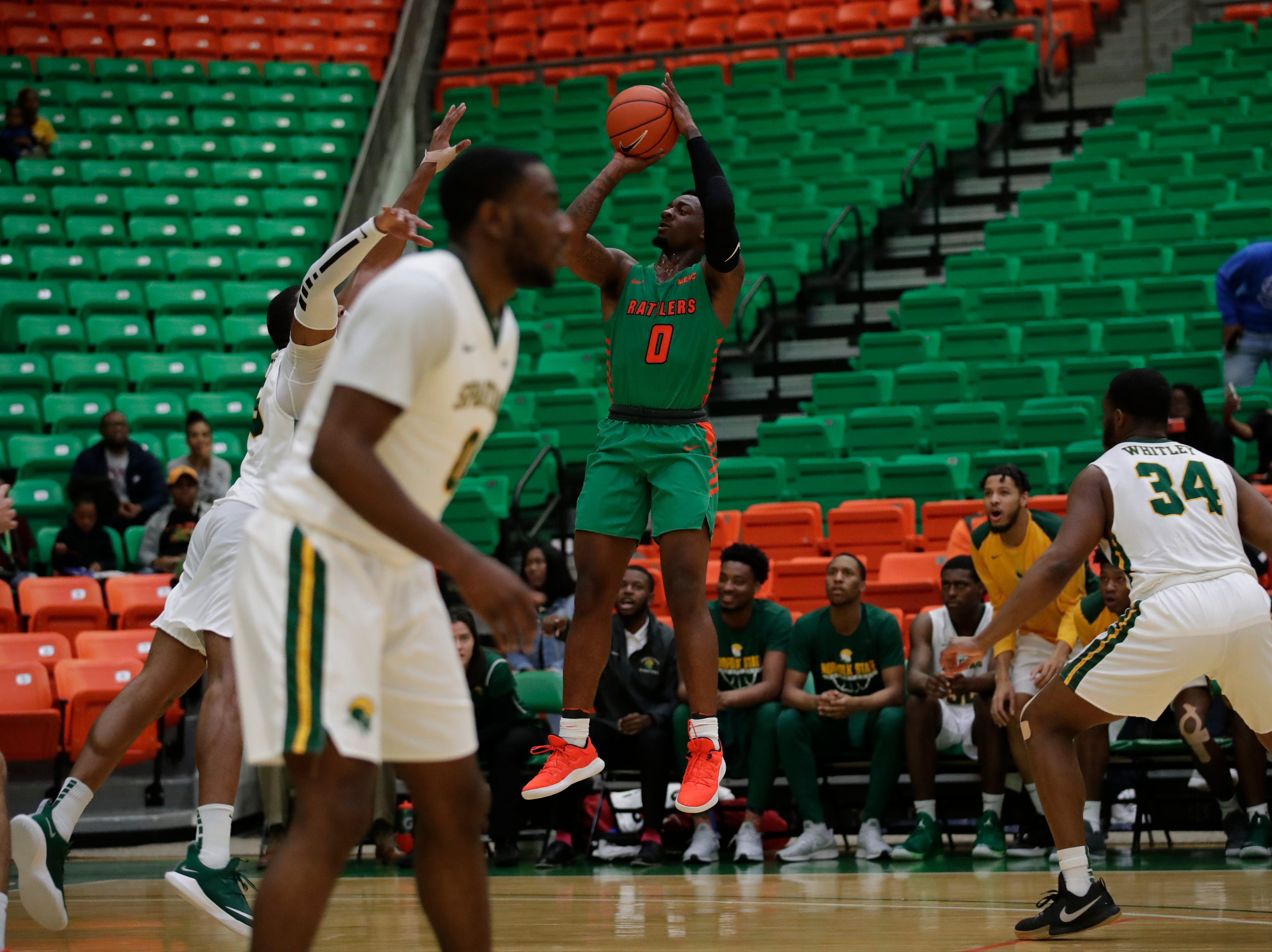 FAMU forward Tracy Hector Jr. shoots a jumper during a game versus Norfolk State at the Alfred Lawson Jr. Multipurpose Center Monday, Feb. 11, 2019.
