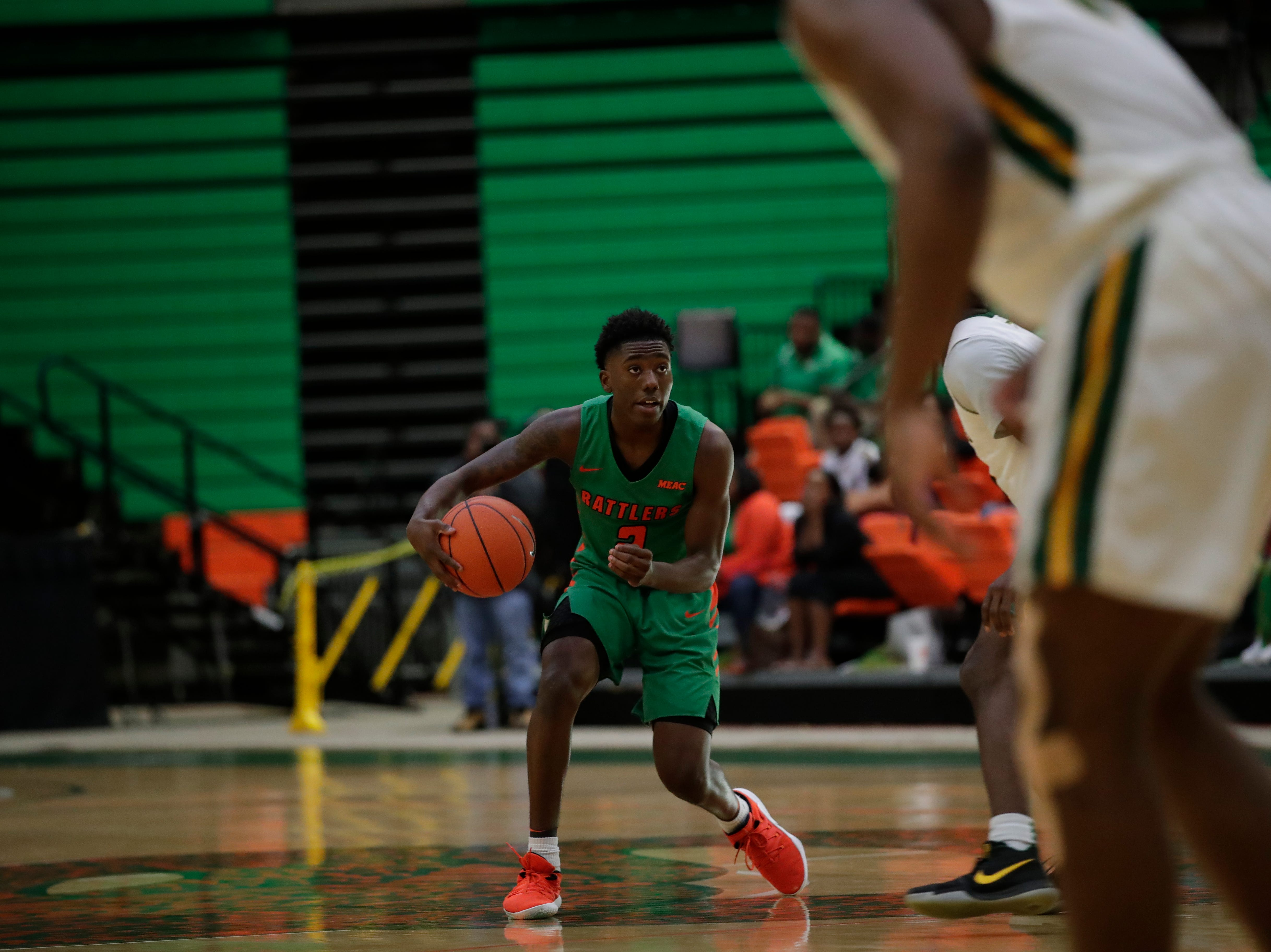 Florida A&M guard Kamron Reaves had 8 point, 6 rebounds and 3 steals against Norfolk State at the Alfred Lawson Jr. Multipurpose Center Monday, Feb. 11, 2019.