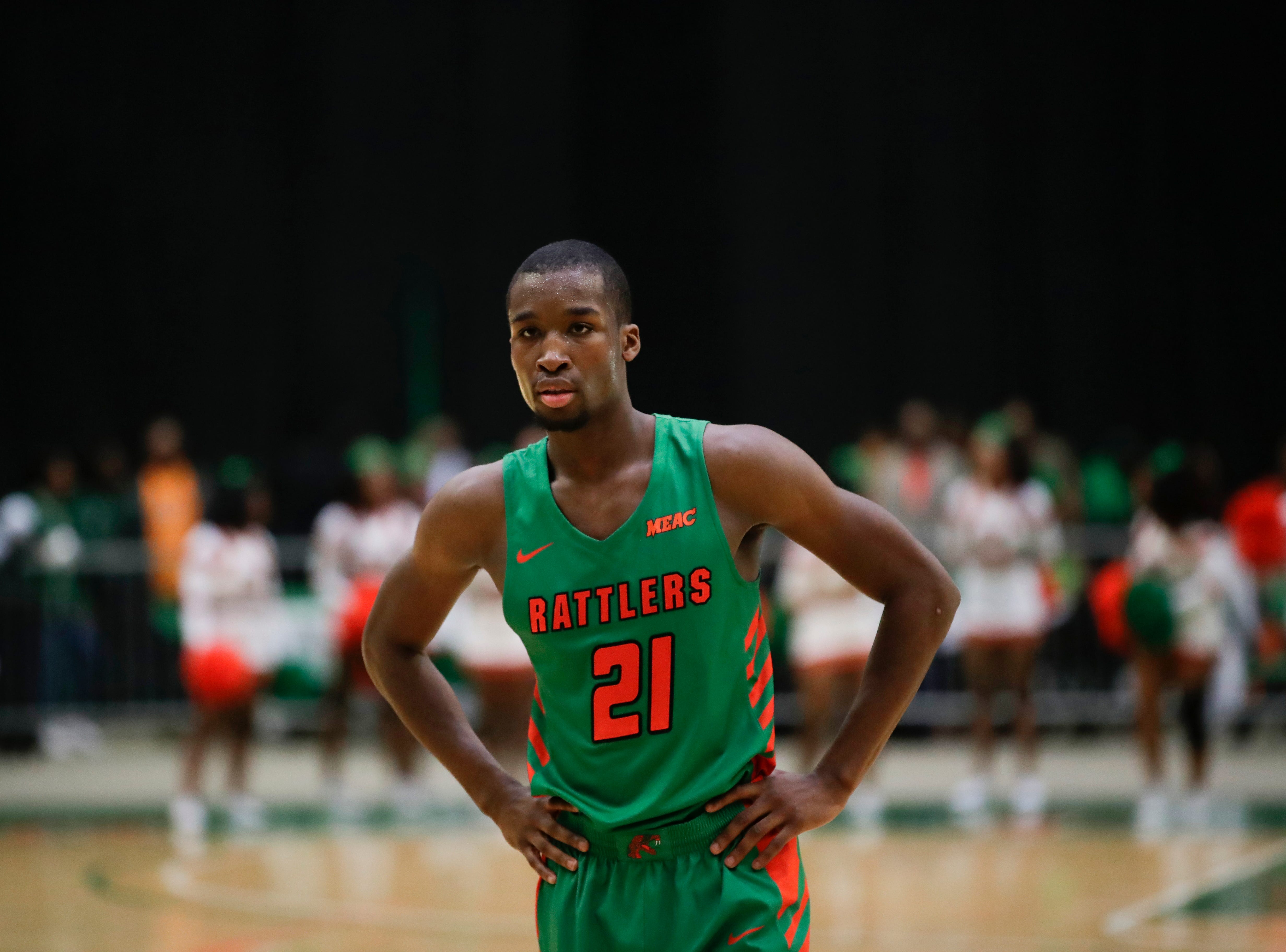Florida A&M Rattlers guard Justin Ravenel (21) goes to the line to shoot two free throws late in the first half versus Norfolk State at the Alfred Lawson Jr. Multipurpose Center Monday, Feb. 11, 2019.