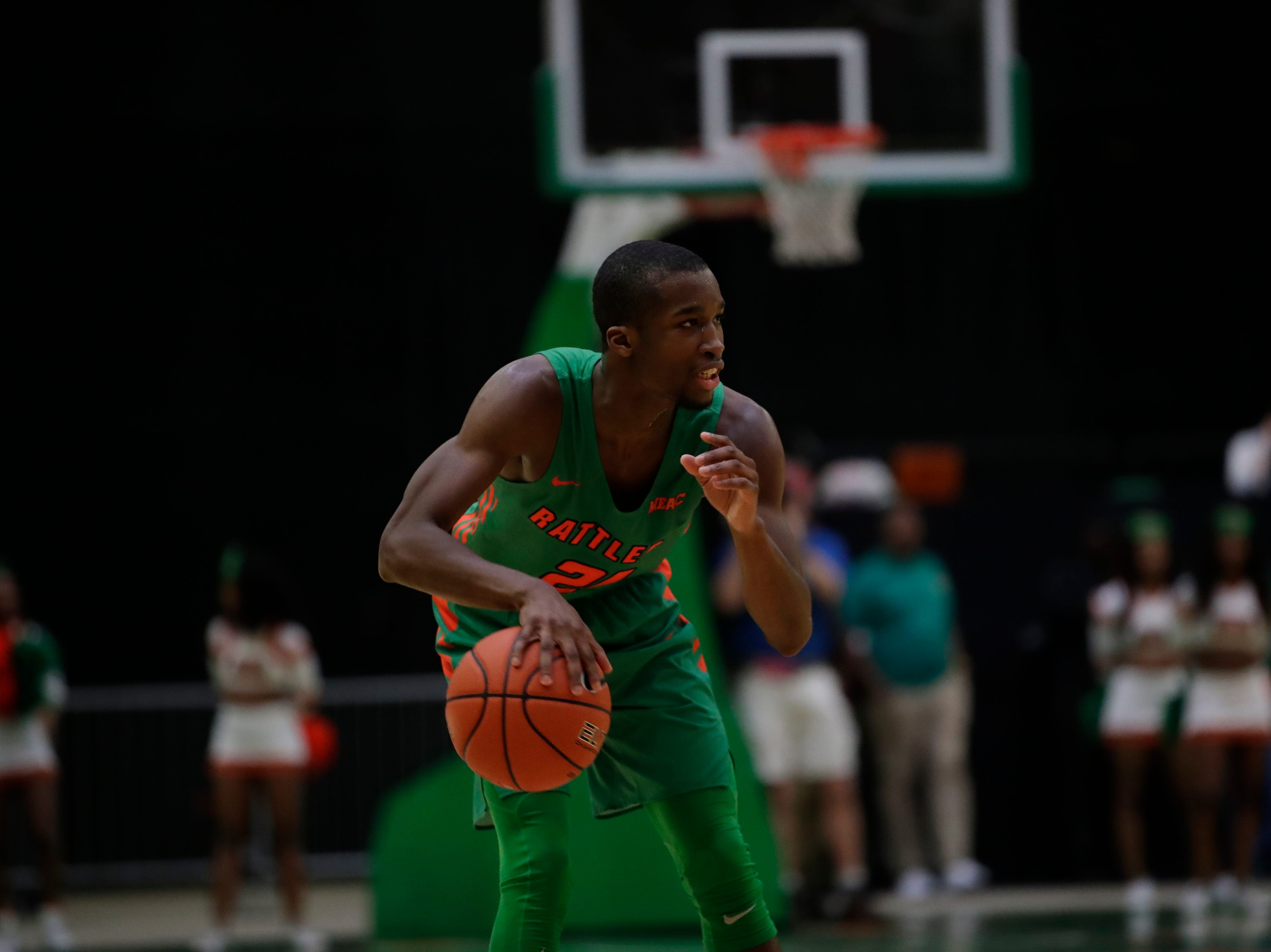 Florida A&M Rattlers guard Justin Ravenel scored a team-high 18 points against Norfolk State at the Alfred Lawson Jr. Multipurpose Center Monday, Feb. 11, 2019.