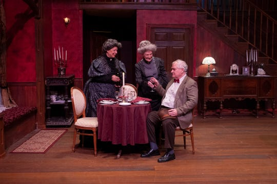 """Martha Brewster (Debbie Frost) and Abby Brewster (Beth Blair) are a pair of sweet elderly spinsters with a disturbing hobby in Theatre Tallahassee's """"Arsenic and Old Lace."""""""