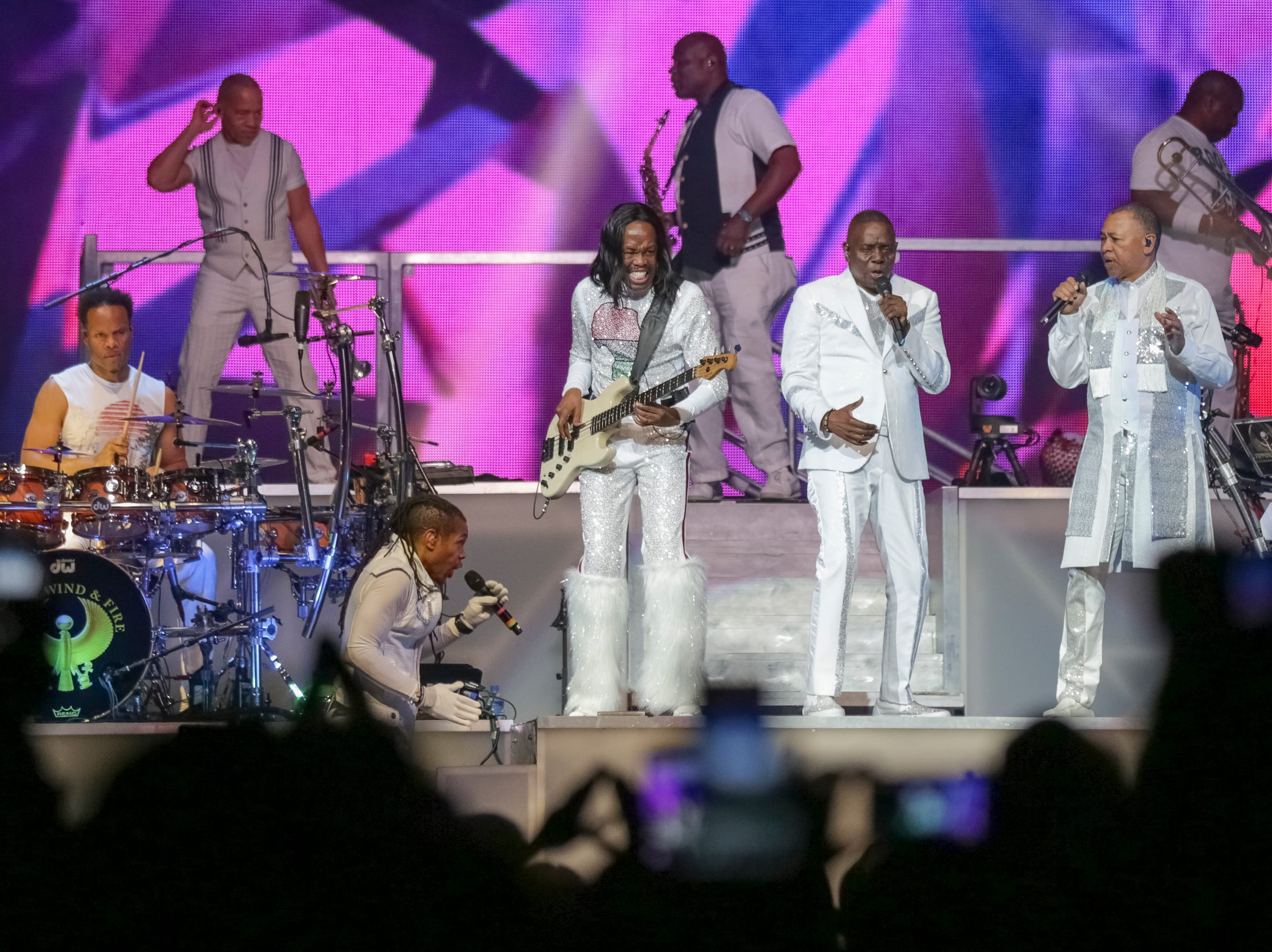 Earth, Wind and Fire performs on stage Aug. 9, 2017, at the Verizon Center in Washington. The band will perform at SunFest in West Palm Beach. Earth, Wind and Fire will perform at SunFest in West Palm Beach.
