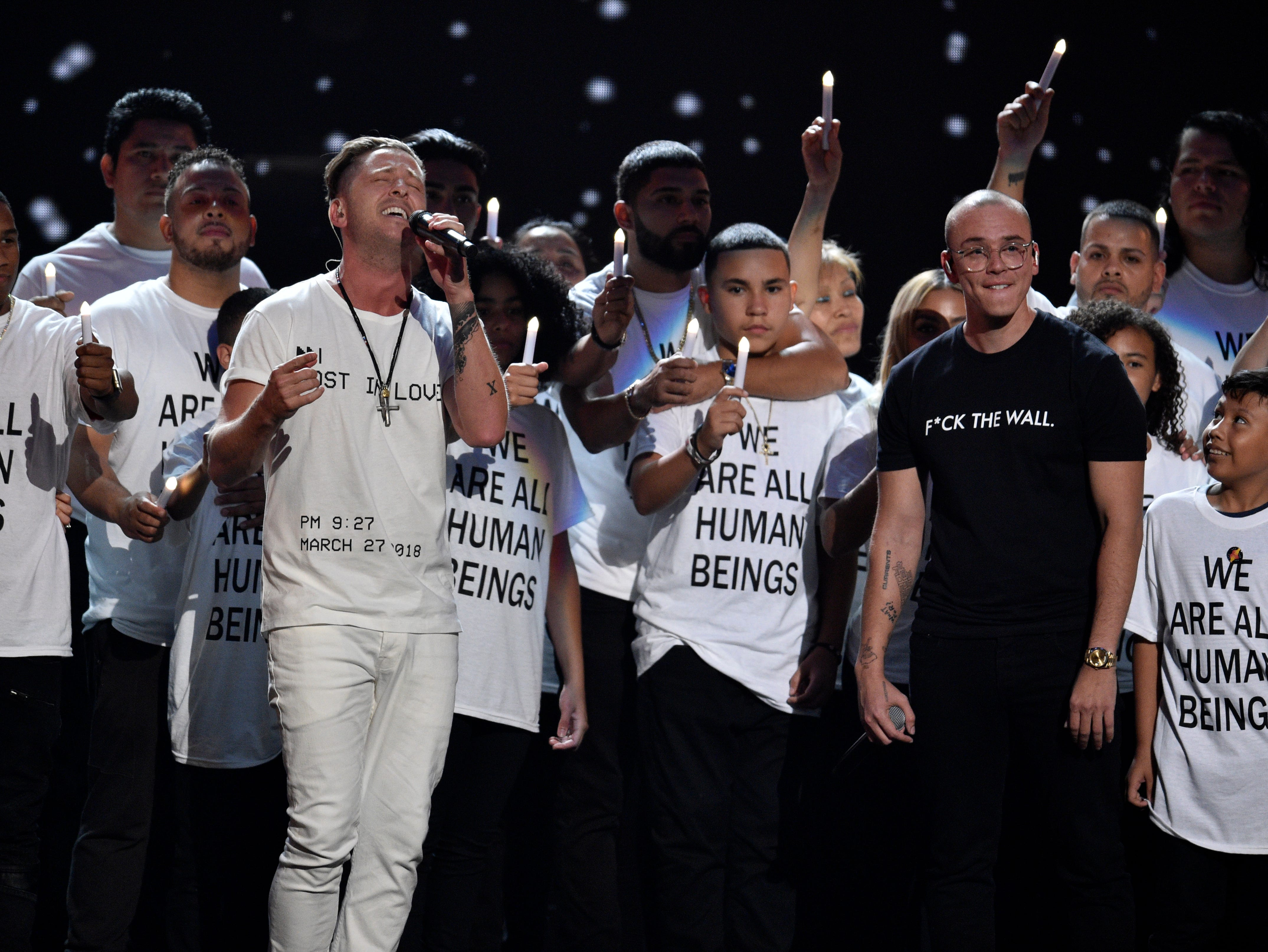"""Ryan Tedder of One Republic (left) and Logic perform """"One Day"""" on Aug. 20, 2018, at the MTV Video Music Awards at Radio City Music Hall in New York. One Republic will perform at SunFest in West Palm Beach."""