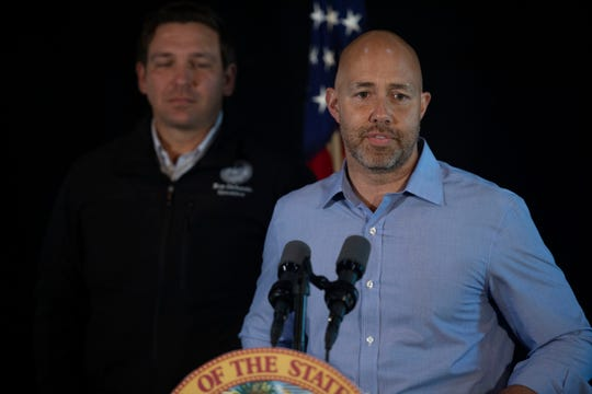 Gov. Ron DeSantis (left) made an appearance along with U.S. Rep. Brian Mast Thursday, Jan. 10, 2019, as part of a news conference at Flagler Place in Stuart. This meeting was held to announce DeSantis call for the immediate resignations of the South Florida Water Management District board members.
