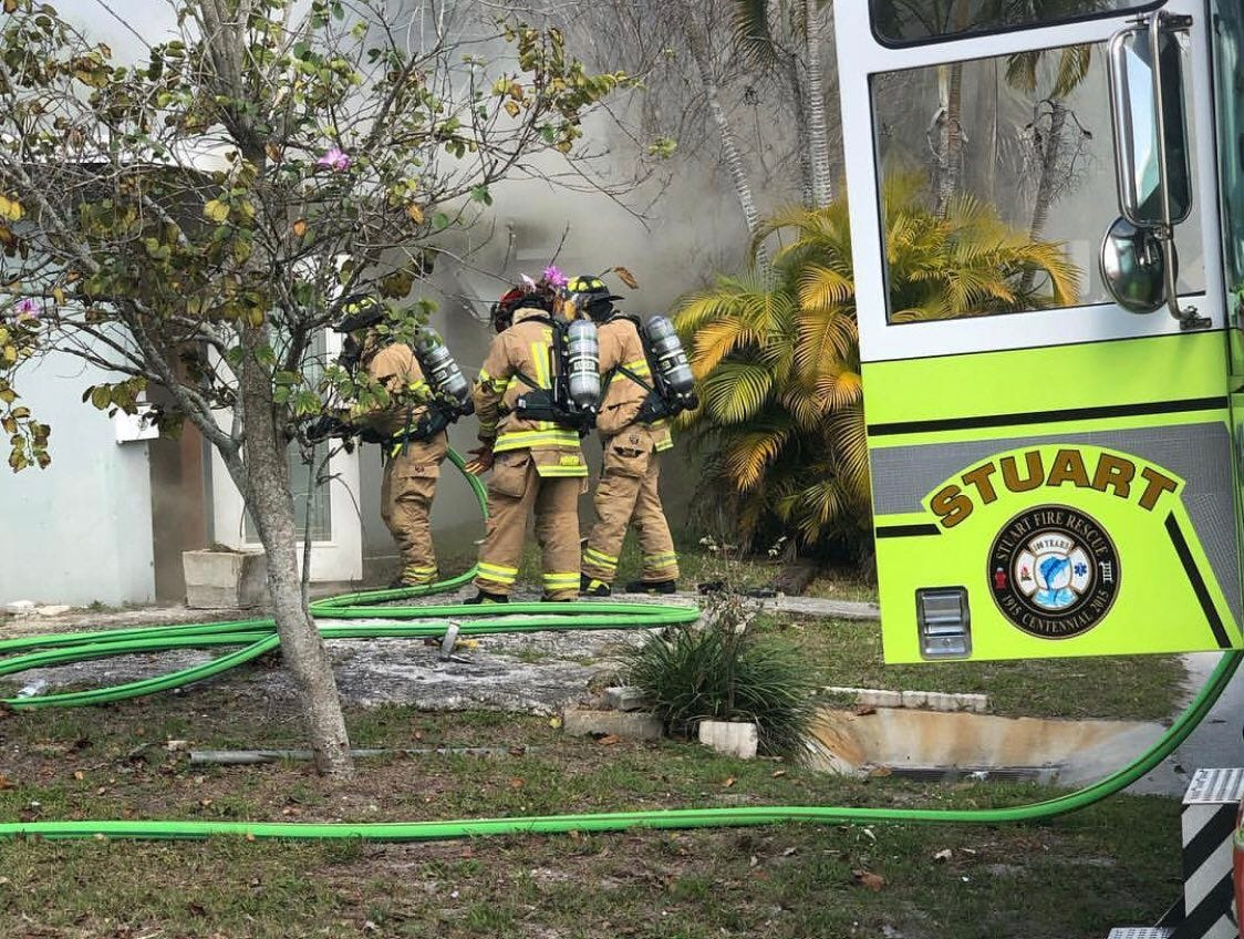Firefighters are responding to a home fire in East Stuart Thursday morning