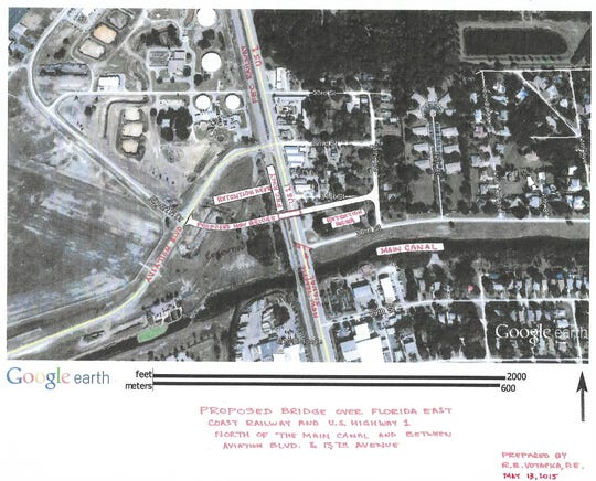 In 2015, Richard Votapka, a former Sebastian public works director and mayor and Brevard County traffic engineer, did a rough draft of a potential bridge over U.S. 1 just east of the Vero Beach airport. The overpass would give motorists better access to Cleveland Clinic Indian River Hospital.