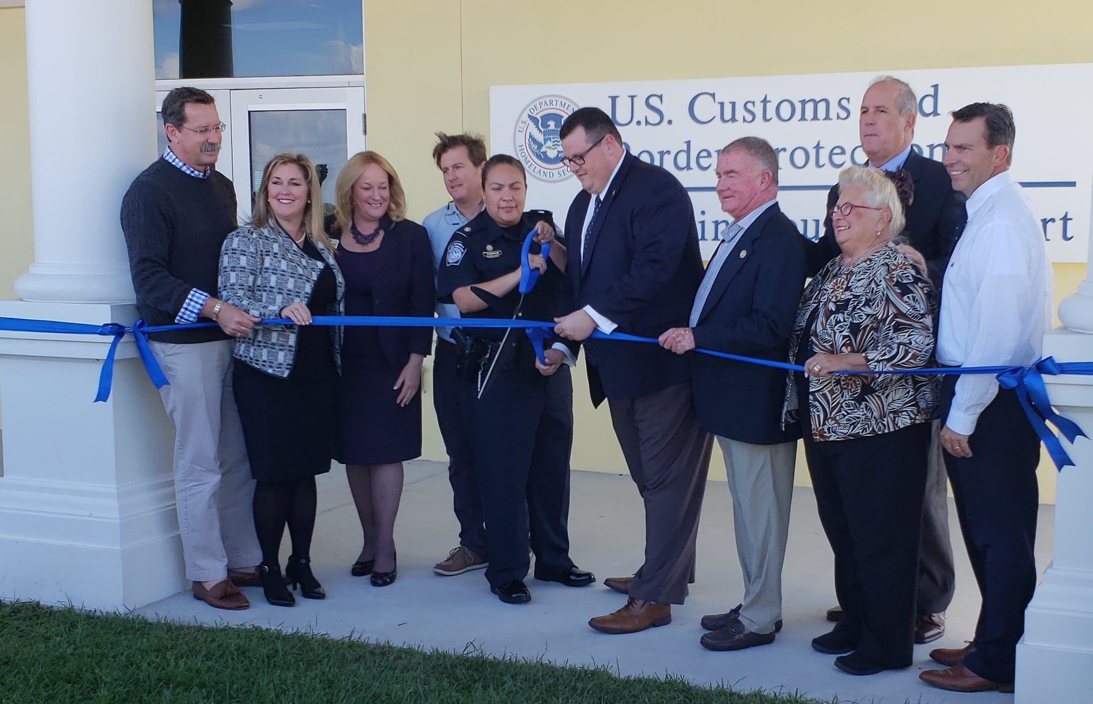 Martin County officials celebrated a ribbon cutting event for the U.S. Customs facility located at the Stuart Airport in December. The facility opened this week.