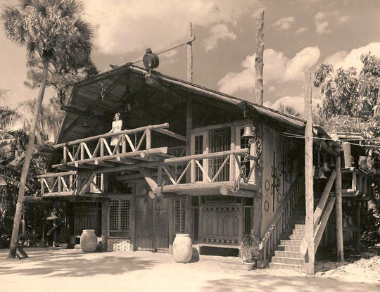 A picture of the Hall of Giants at McKee Jungle Gardens in 1940. The Hall of Giants and Spanish Kitchen were both meticulously restored to developer Waldo E. Sexton's original vision, and in 2002 the United State's first permitted bamboo structure was built on site.