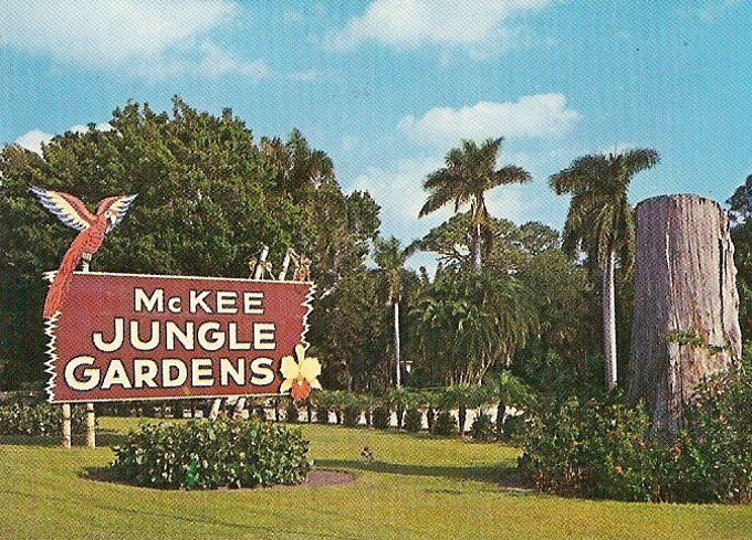 This McKee Jungle Gardens sign stood on U.S. 1 in Vero Beach for many years. The garden opened in 1932 as an 80-acre tourist attraction along the Indian River. The economic and cultural impacts it had on Indian River County helped put Vero Beach on the map as a must-visit destination for those traveling up and down Florida's East Coast. When Interstate 95 was built, diverting traffic from U.S. 1, attendance at McKee Jungle Gardens – 100,000 annual visitors at its height – dwindled to the point that it was forced to close in 1976.