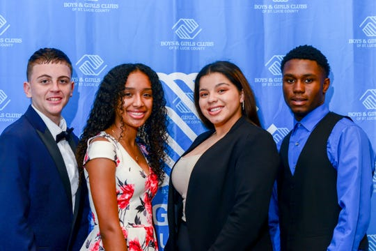 Boys & Girls Clubs of St. Lucie County Youth of the Year candidates Christian Galentine, left, Kayla Williams, Yaluris Torres and Yan Morrison. Williams was named 2019 Youth of Year. Torres was runner up, followed by Galentine and Morrison.