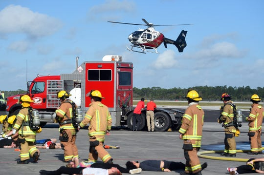 A helicopter hovers at Vero Beach Regional Airport during a disaster exercise Feb. 12, 2019. Sewall's Point resident Ben Sharfi has offered to make his helipad available to Martin County emergency responders - if Sewall's Point officials give their official stamp of approval.