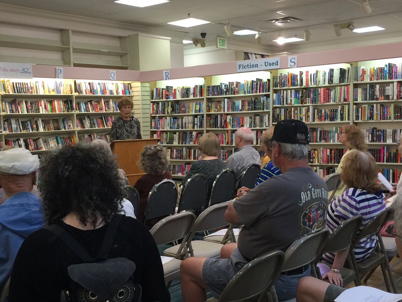 Suzan Phillips speaks about McKee Botanical Garden at the Vero Beach Book Center during a book signing.