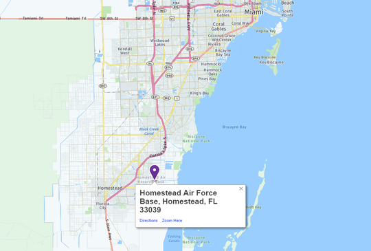 Homestead Air Force Base is located south of Miami.