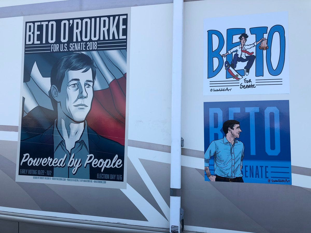 Signs supporting Beto O'Rourke were on display at the counter-rally Monday.