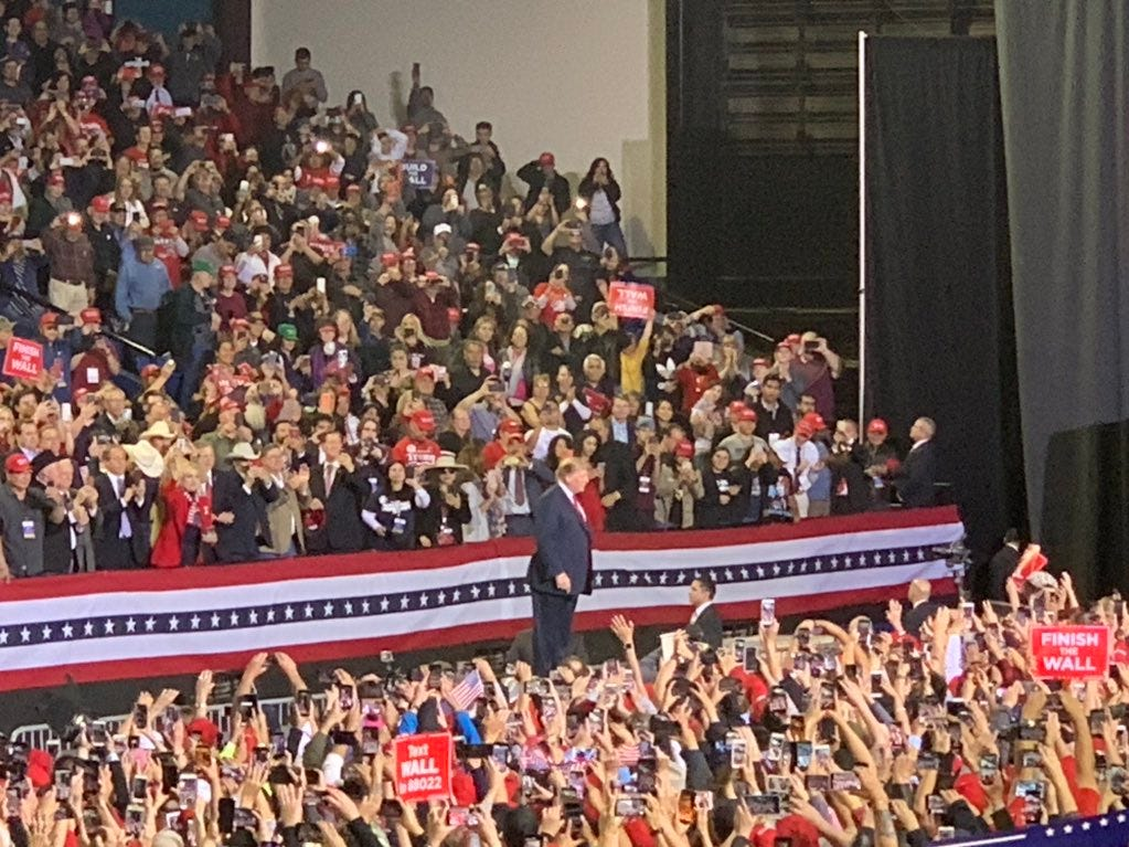 President Donald Trump speaks at the rally Monday, Feb. 11, 2019, at the El Paso County Coliseum.