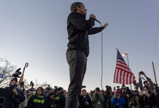 2/11/19 5:52:33 PM -- El Paso, TX, U.S.A  -- A counter-rally led by former U.S. Senate candidate Beto O'Rourke joined the March for Truth with hundreds of people along with Border Network for Human Rights, Women's March, to protest against President Trump campaign rally near El Paso County Coliseum on Feb. 11, 2019.