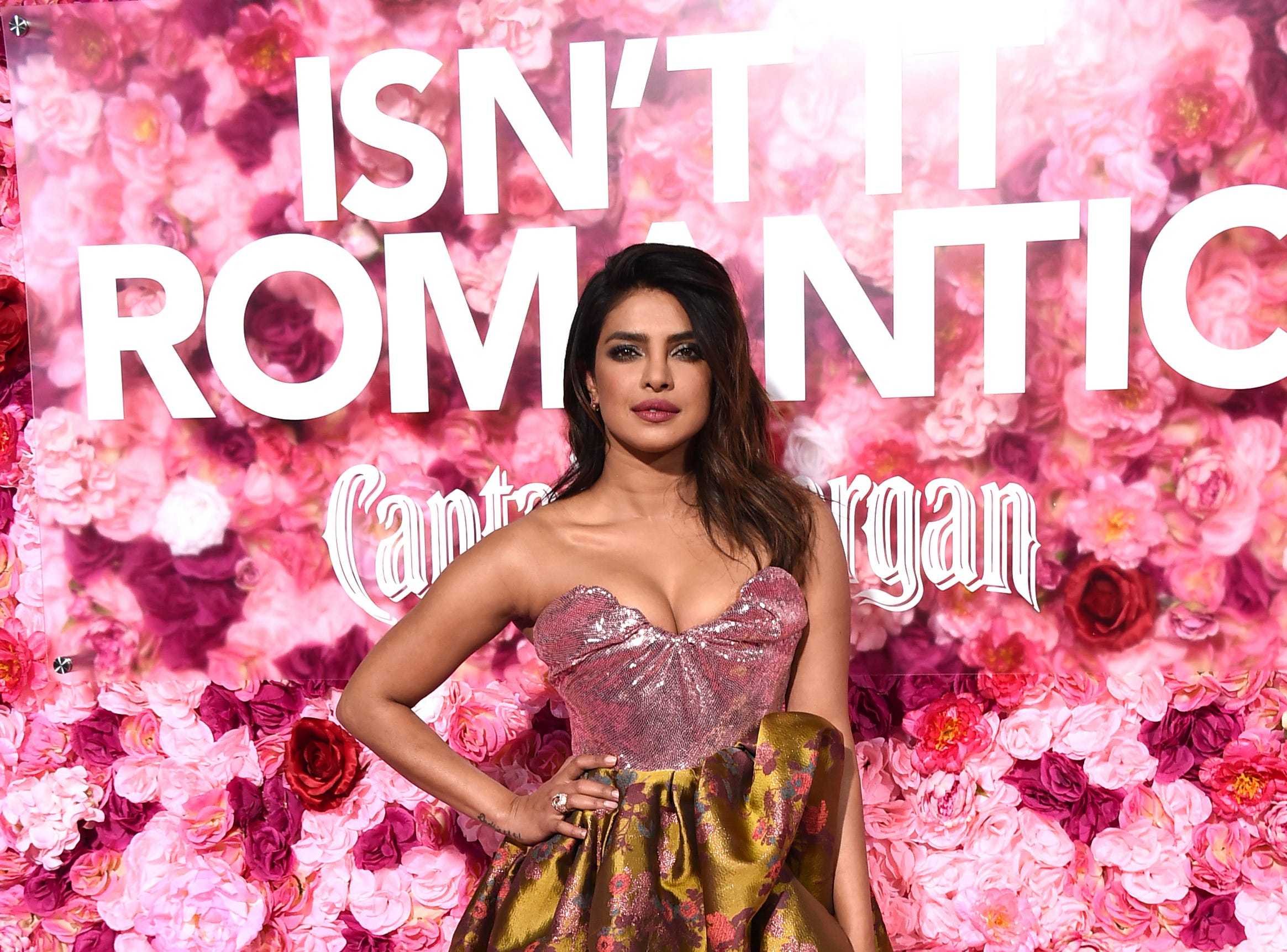 """Cast member Priyanka Chopra arrives at the Los Angeles premiere of """"Isn't It Romantic"""" at The Theatre at Ace Hotel on Monday, Feb. 11, 2019."""