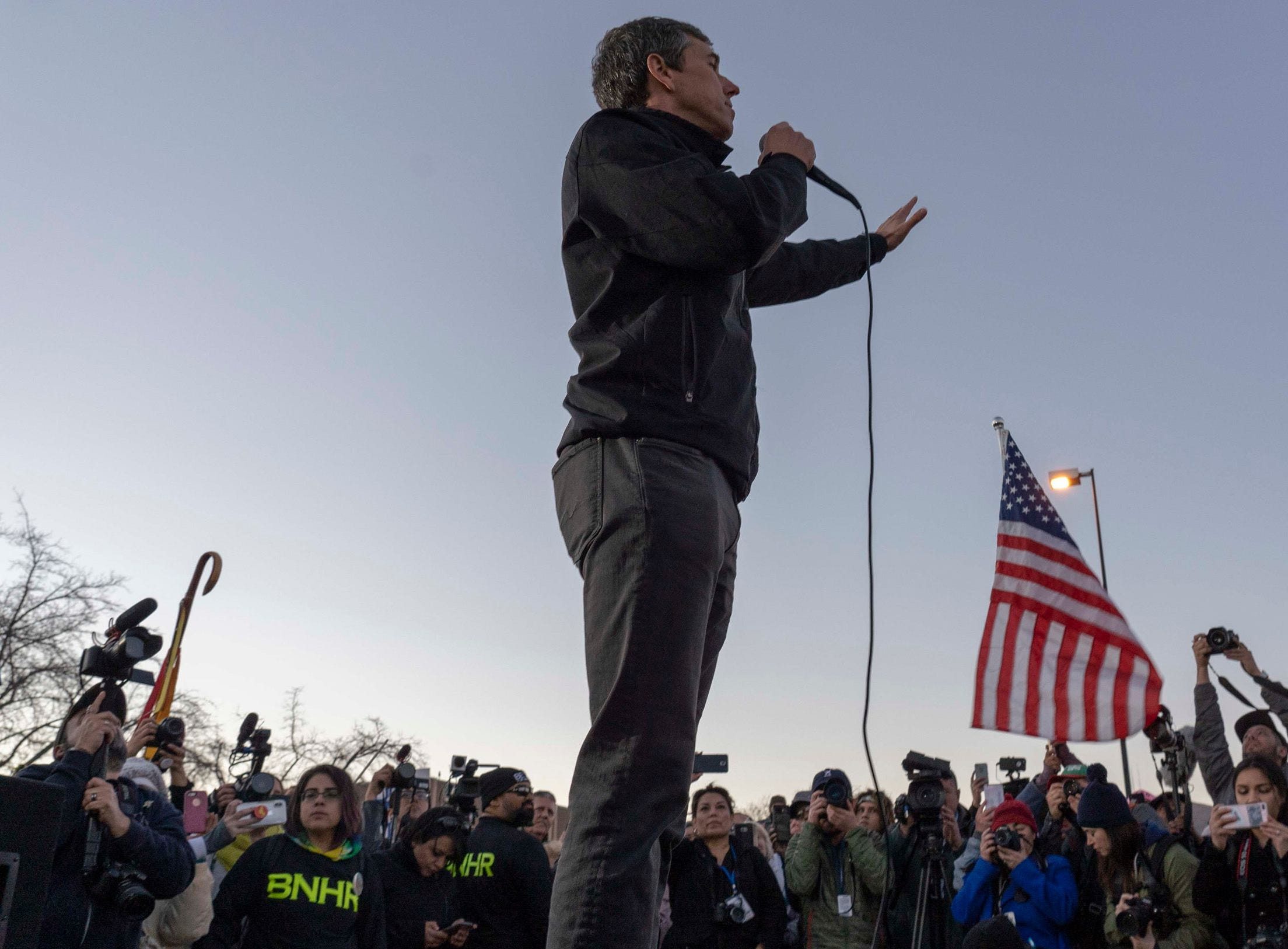 A counter-rally led by former U.S. Senate candidate Beto O'Rourke in El Paso, Texas.