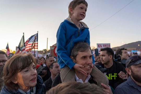 A counter-rally led by former U.S. Senate candidate Beto O'Rourke, holding his son Henry, joined the March for Truth with hundreds of people along with Border Network for Human Rights, Women's March, to protest against President Trump campaign rally in El Paso, Texas.