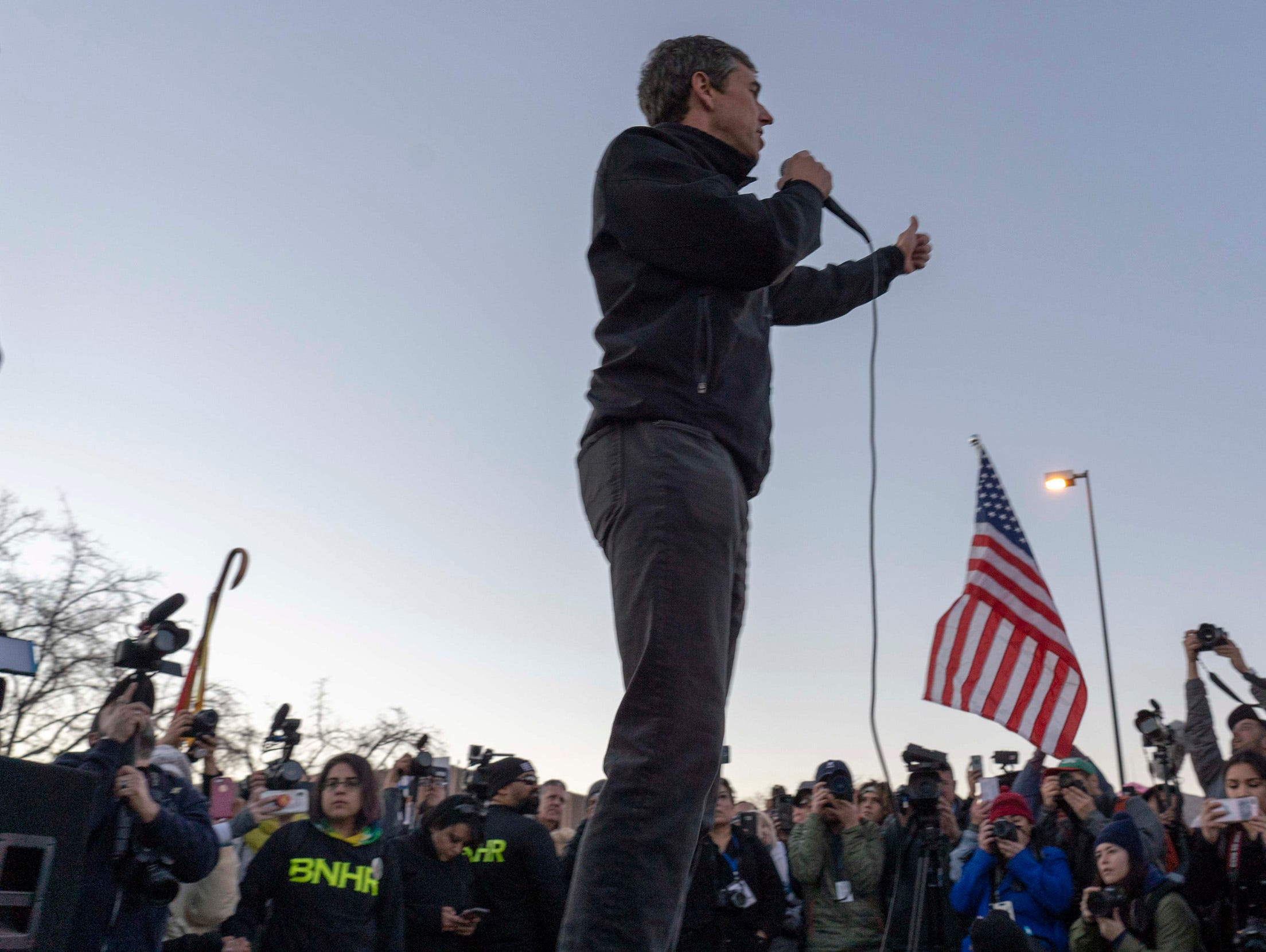 2/11/19 5:52:34 PM -- El Paso, TX, U.S.A  -- A counter-rally led by former U.S. Senate candidate Beto O'Rourke joined the March for Truth with hundreds of people along with Border Network for Human Rights, Women's March, to protest against President Trump campaign rally near El Paso County Coliseum on Feb. 11, 2019. Nick Oza