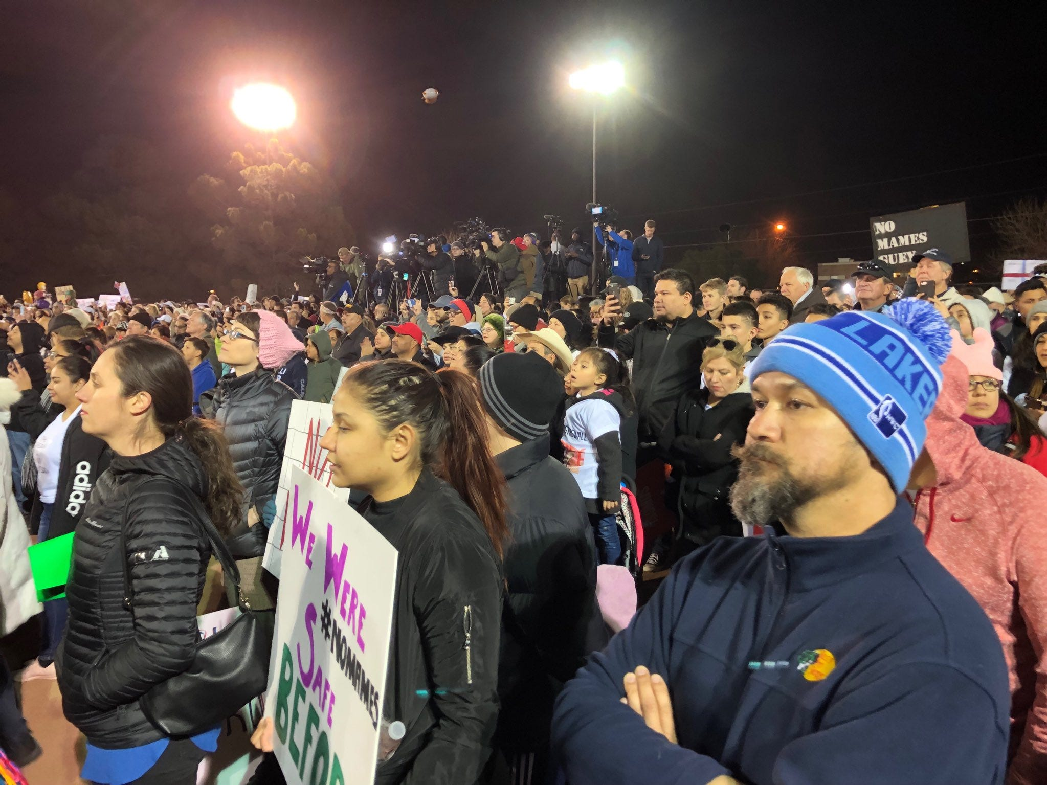 People listen during the counter-rally Feb. 11, 2019.