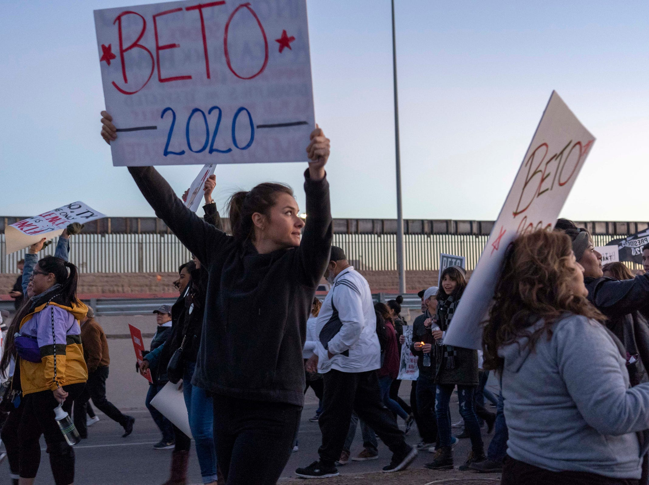 2/11/19 6:05:00 PM -- El Paso, TX, U.S.A  -- A counter-rally led by former U.S. Senate candidate Beto O'Rourke joined the March for Truth with hundreds of people along with Border Network for Human Rights, Women's March, to protest against President Trump campaign rally near El Paso County Coliseum on Feb. 11, 2019.