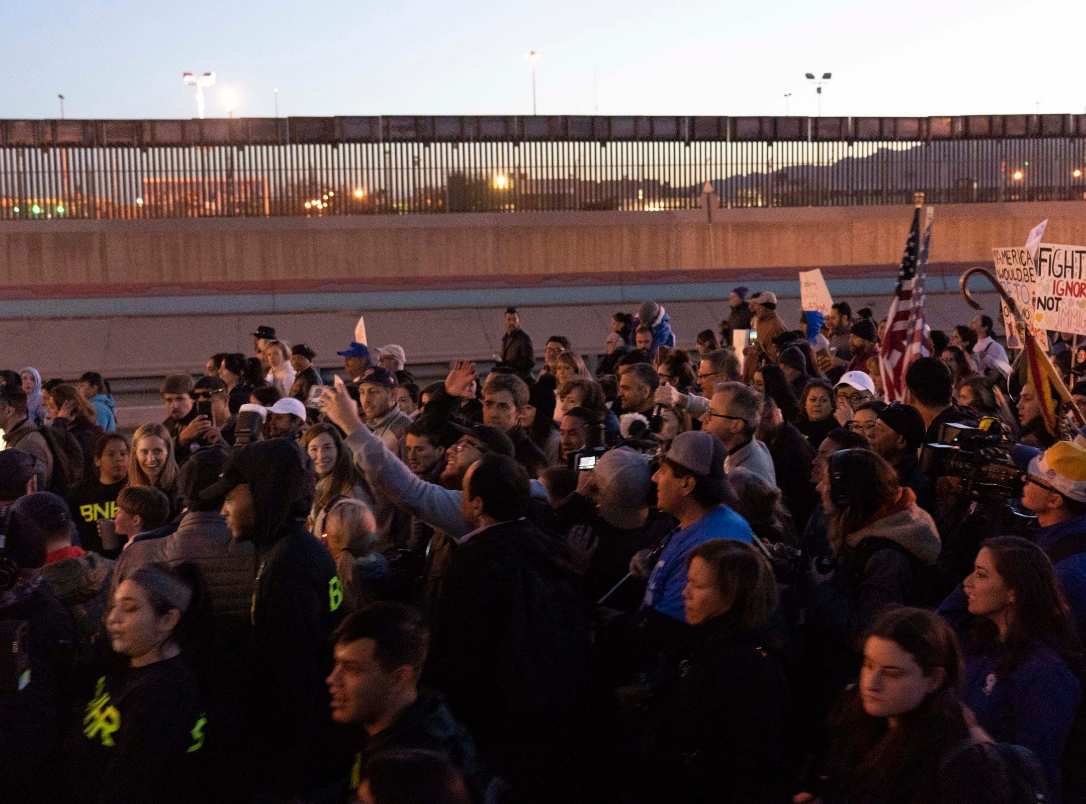 2/11/19 6:12:34 PM -- El Paso, TX, U.S.A  -- Hundreds joined the March for Truth along with Border Network for Human Rights, Women's March, to protest against President Trump campaign rally near El Paso County Coliseum on Feb. 11, 2019.